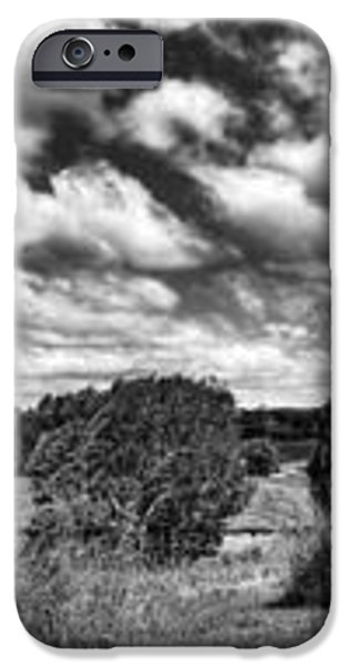 Cloudy Countryside Collage - Black and White iPhone Case by Kaye Menner