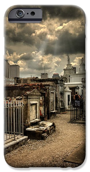 Chrystal iPhone Cases - Cloudy Day at St. Louis Cemetery iPhone Case by Chrystal Mimbs