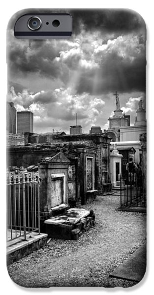 Chrystal iPhone Cases - Cloudy Day at St. Louis Cemetery in Black and White iPhone Case by Chrystal Mimbs