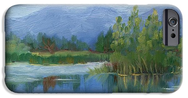 Walden Pond Paintings iPhone Cases - Cloudy day at Walden Ponds iPhone Case by Margaret Bobb