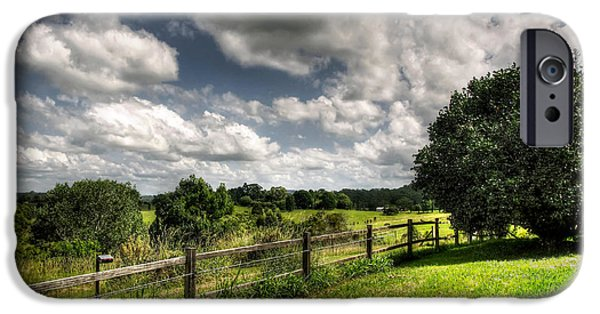 Old Fence Posts iPhone Cases - Cloudy Day in the Country iPhone Case by Kaye Menner