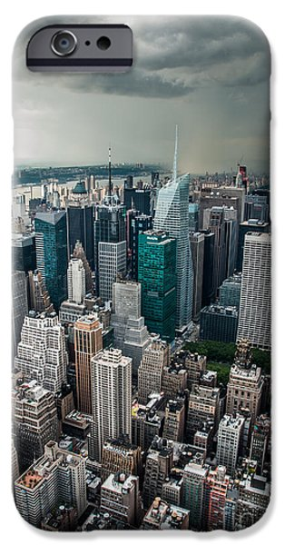 High Tower iPhone Cases - cloudy Manhattan iPhone Case by Hannes Cmarits