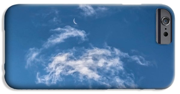 Moon Pyrography iPhone Cases - Cloudy Moon iPhone Case by George Blaney