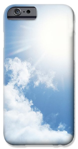 Freedom iPhone Cases - Cloudy Sky, Lens Flare iPhone Case by Panoramic Images
