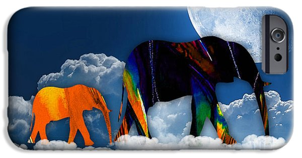 Elephants iPhone Cases - Cloudy With A Chance Of Rain iPhone Case by Marvin Blaine