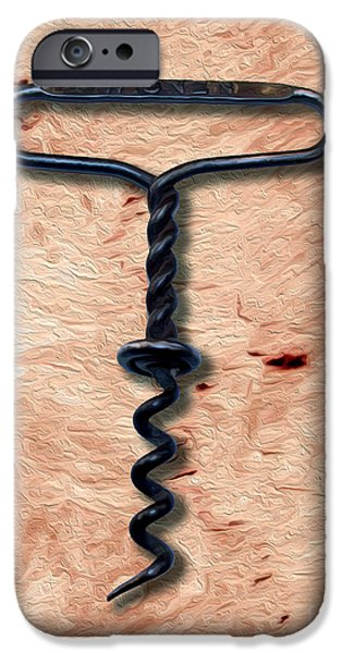Food And Beverage Mixed Media iPhone Cases - Clough Single Wire Corkscrew Painting 5 iPhone Case by Jon Neidert