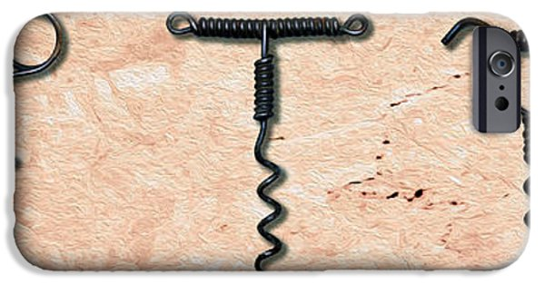 Red Wine Mixed Media iPhone Cases - Clough Single Wire Corkscrews Painting iPhone Case by Jon Neidert