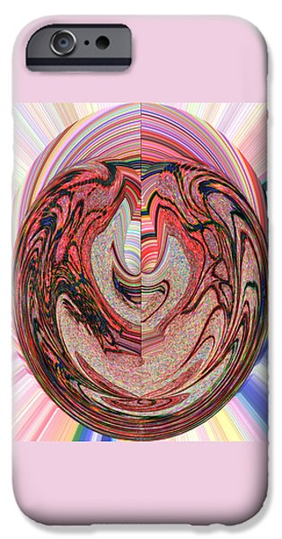 Abstract Rose Oval iPhone Cases - Clown Face Abstract iPhone Case by Marian Bell