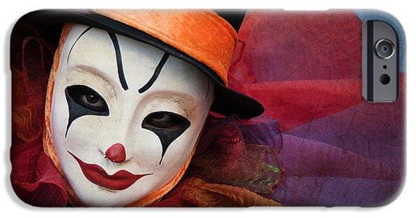 Portrait Of Evil iPhone Cases - Clown Face iPhone Case by Zina Zinchik