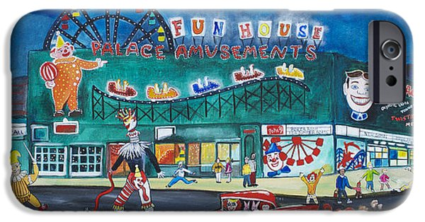 Asbury Park Paintings iPhone Cases - Clown Parade at the Palace iPhone Case by Patricia Arroyo