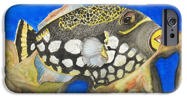 Triggerfish Paintings iPhone Cases - Clown Triggerfish iPhone Case by Linda Brody
