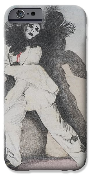 Acting iPhone Cases - Clown With Shadows, 1993 Pencil On Paper iPhone Case by Carolyn Hubbard-Ford