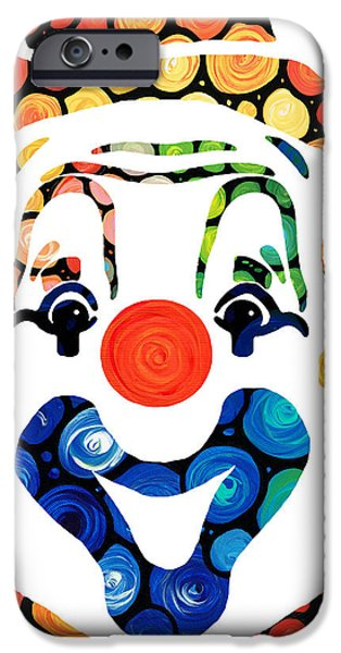 Smiling Mixed Media iPhone Cases - Clownin Around - Funny Circus Clown Art iPhone Case by Sharon Cummings