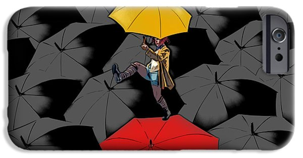Umbrellas Digital Art iPhone Cases - Clowning on Umbrellas 01 - a11 iPhone Case by Variance Collections
