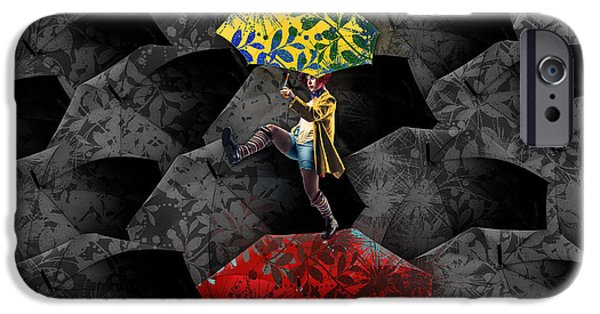 Red Umbrella iPhone Cases - Clowning on Umbrellas 01 - c07c iPhone Case by Variance Collections