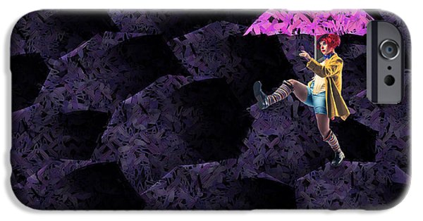 Umbrellas Digital Art iPhone Cases - Clowning on Umbrellas 02 - a08-Purple iPhone Case by Variance Collections