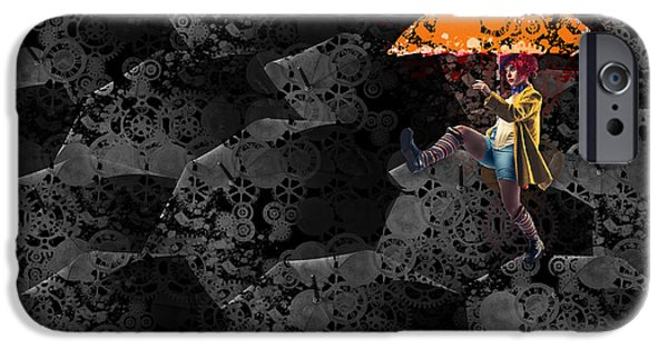 Mechanism iPhone Cases - Clowning on Umbrellas 02 -a10a iPhone Case by Variance Collections
