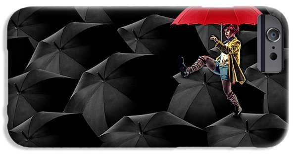 Umbrellas Digital Art iPhone Cases - Clowning on Umbrellas 02 -a13 iPhone Case by Variance Collections