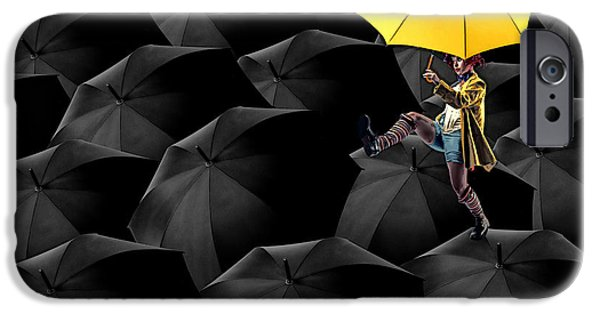 Umbrellas Digital Art iPhone Cases - Clowning on Umbrellas 03-a13-1 iPhone Case by Variance Collections