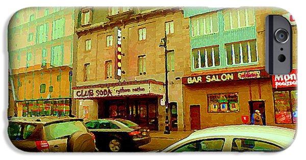 Montreal Memories. iPhone Cases - Club Soda  Bar Salon Midway Montreal Pool Room St Laurent Tavern Hotdog Resto City Scenes C Spandau iPhone Case by Carole Spandau