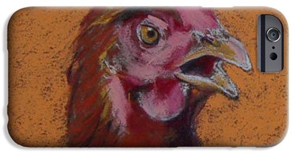Country Pastels iPhone Cases - Cluck iPhone Case by Pattie Wall