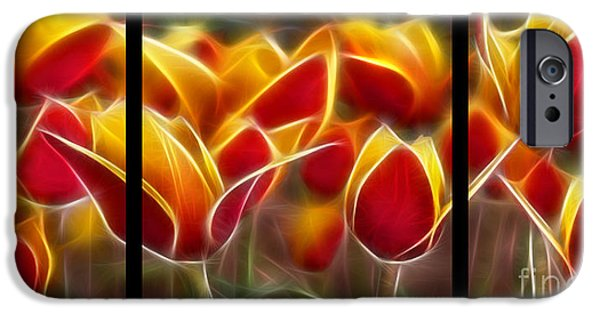 Morphed iPhone Cases - Cluisiana Tulips Triptych  iPhone Case by Peter Piatt