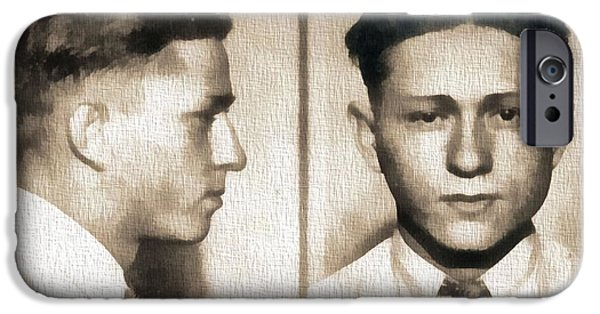 Weapon Mixed Media iPhone Cases - Clyde Barrow Mug Shot iPhone Case by Dan Sproul