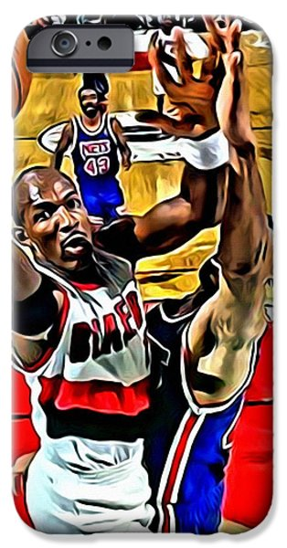 Clyde Drexler iPhone Case by Florian Rodarte