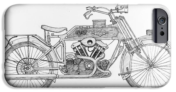 Stainless Steel Drawings iPhone Cases - Clyno-Harley-Davidson iPhone Case by Stephen Brooks