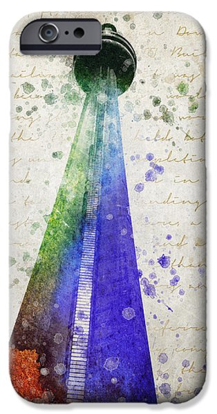 Buildings Mixed Media iPhone Cases - CN Tower Toronto iPhone Case by Aged Pixel