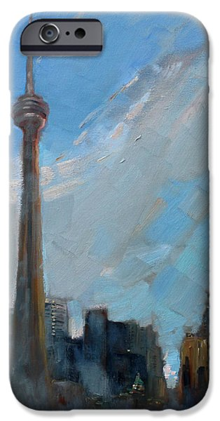 Toronto Paintings iPhone Cases - Cn Tower Toronto iPhone Case by Ylli Haruni