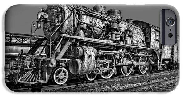 Railway Locomotive iPhone Cases - CNR Number 47 BW iPhone Case by Susan Candelario