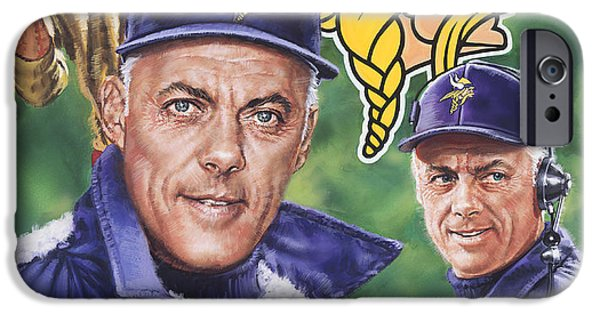 Vikings Paintings iPhone Cases - Coach Bud Grant iPhone Case by Dick Bobnick