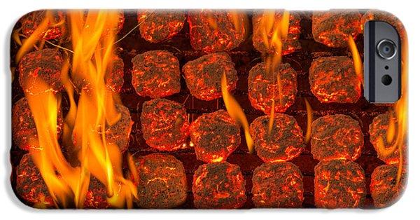 Coal iPhone Cases - Coal Fire iPhone Case by Steve Gadomski