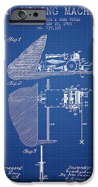 Machinery iPhone Cases - Coal Mining Machine Patent From 1903- Blueprint iPhone Case by Aged Pixel