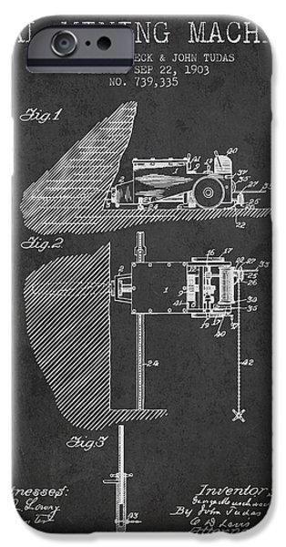 Machinery Digital iPhone Cases - Coal Mining Machine Patent From 1903- Charcoal iPhone Case by Aged Pixel