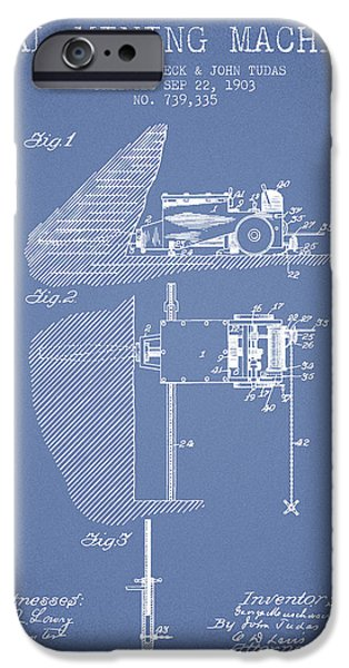 Machinery iPhone Cases - Coal Mining Machine Patent From 1903- Light Blue iPhone Case by Aged Pixel