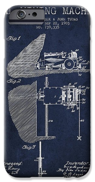 Machinery iPhone Cases - Coal Mining Machine Patent From 1903- Navy Blue iPhone Case by Aged Pixel
