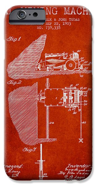 Machinery iPhone Cases - Coal Mining Machine Patent From 1903- Red iPhone Case by Aged Pixel