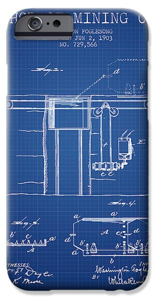 Machinery iPhone Cases - Coal Mining Patent From 1903- Blueprint iPhone Case by Aged Pixel