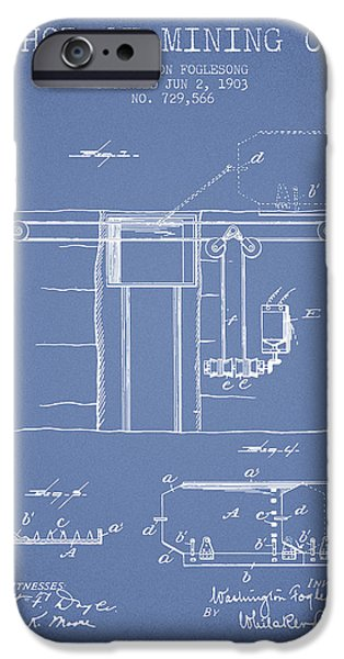 Machinery iPhone Cases - Coal Mining Patent From 1903- Light Blue iPhone Case by Aged Pixel