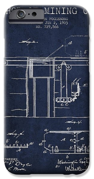 Machinery iPhone Cases - Coal Mining Patent From 1903- Navy Blue iPhone Case by Aged Pixel