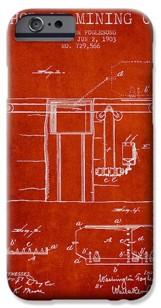 Machinery iPhone Cases - Coal Mining Patent From 1903- Red iPhone Case by Aged Pixel