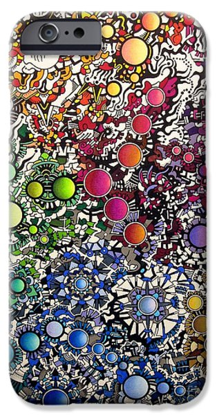 Abstractions Drawings iPhone Cases - Coalescence iPhone Case by Devin  Cogger