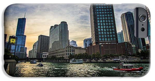 Wrigley iPhone Cases - Coast Guard boat heading out on Chicago River iPhone Case by Sven Brogren