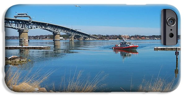 Yorktown Virginia iPhone Cases - Coast Guard Docking iPhone Case by Nancy Comley
