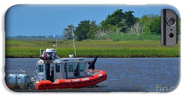 Sailboats iPhone Cases - Coast Guard On Patrol 2 iPhone Case by Bob Sample