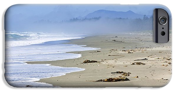 Fog Mist iPhone Cases - Coast of Pacific ocean in Canada iPhone Case by Elena Elisseeva