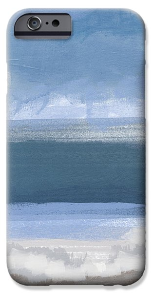 Sea Mixed Media iPhone Cases - Coastal- abstract landscape painting iPhone Case by Linda Woods