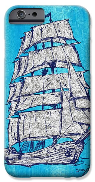 Tall Ship Mixed Media iPhone Cases - Coastal Art Escape The Tall Ship iPhone Case by William Depaula
